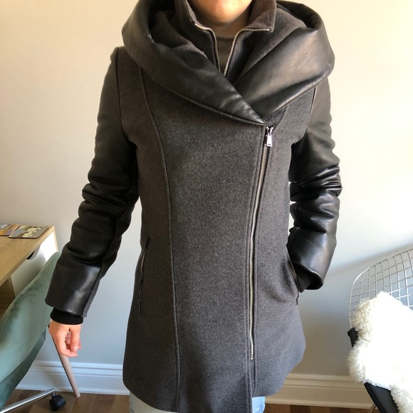 SICILY Roxy wool coat leather sleeves